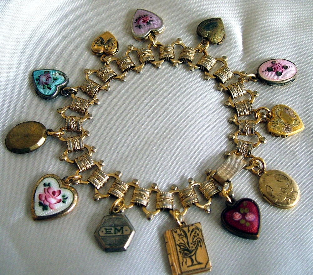 Antique Gold Charm Bracelet: Gold Tone Charm Bracelet With Vintage Lockets And Enamel