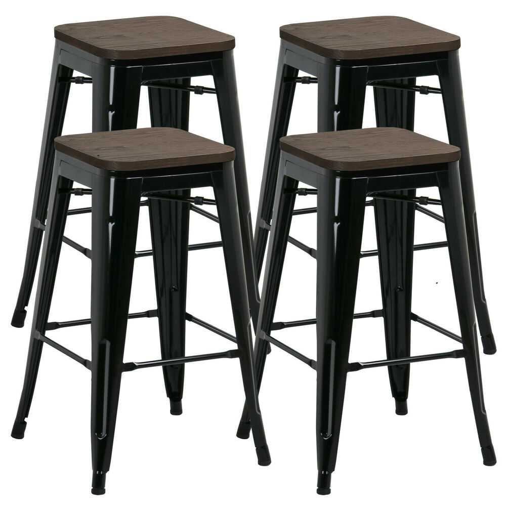 Set Of 4 Black Vintage Bar Stool Industrial Steel Design
