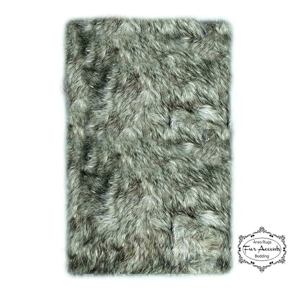 Shag Rug Plush Gray Timber Wolf Fur Rectangle Area