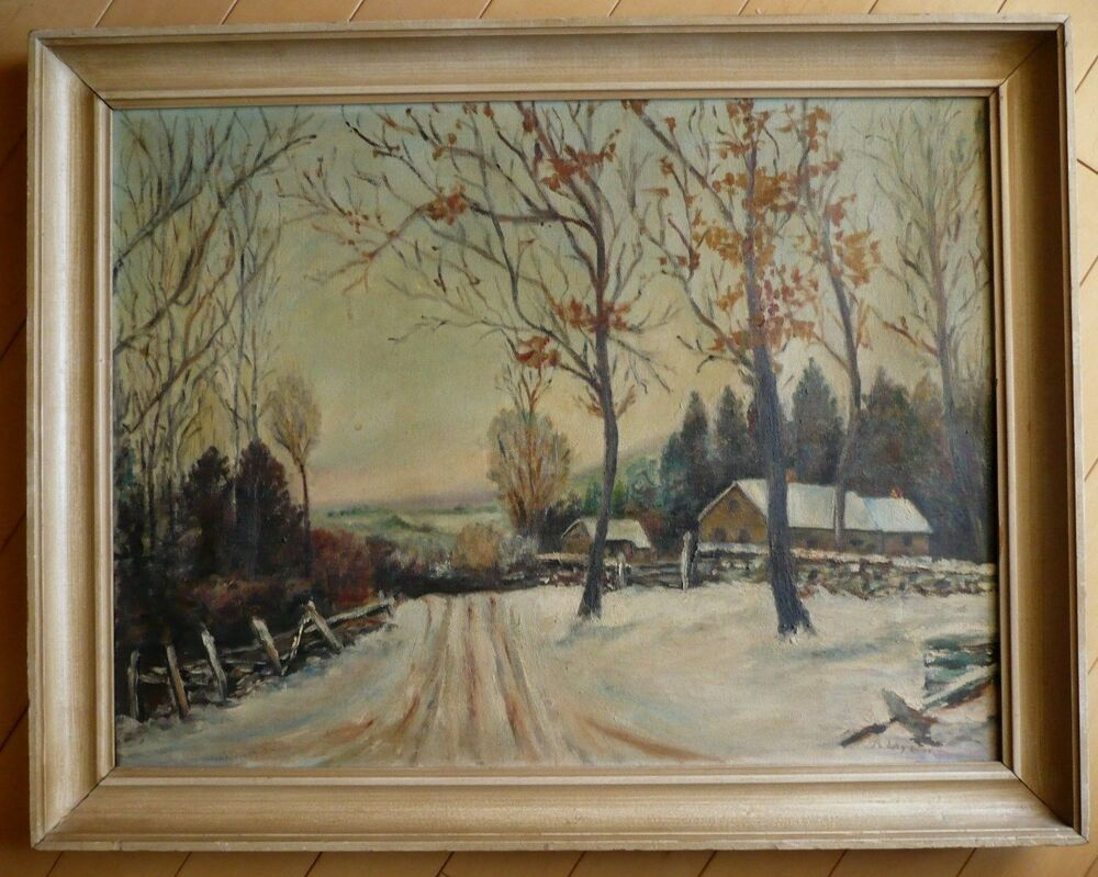 mystery artist  vintage oil  snowy landscape winter scene impressionism painting