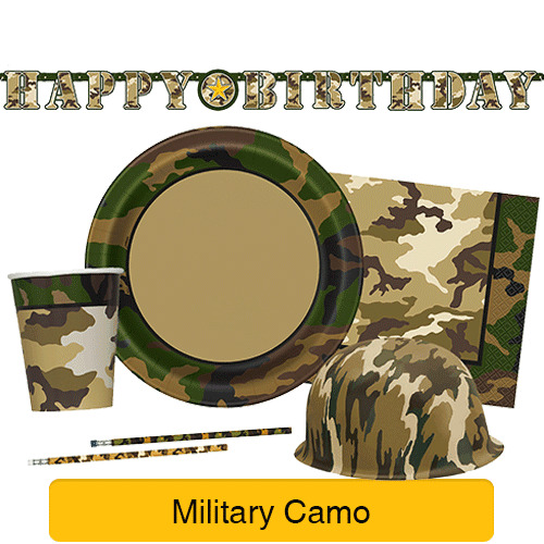 Military camo party tableware decorations birthday for Army party decoration