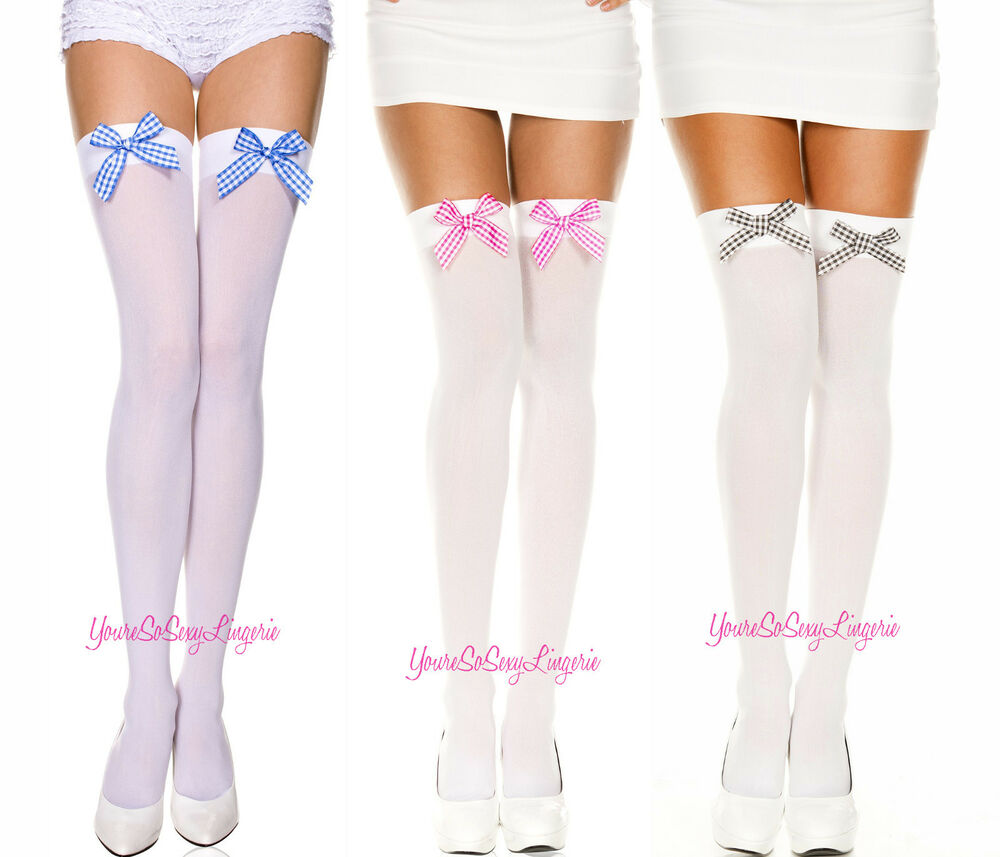 0963685645c85 Details about Opaque THIGH HIGH STOCKINGS with GINGHAM Satin Bow OVER-THE-KNEE  COSTUME Cosplay