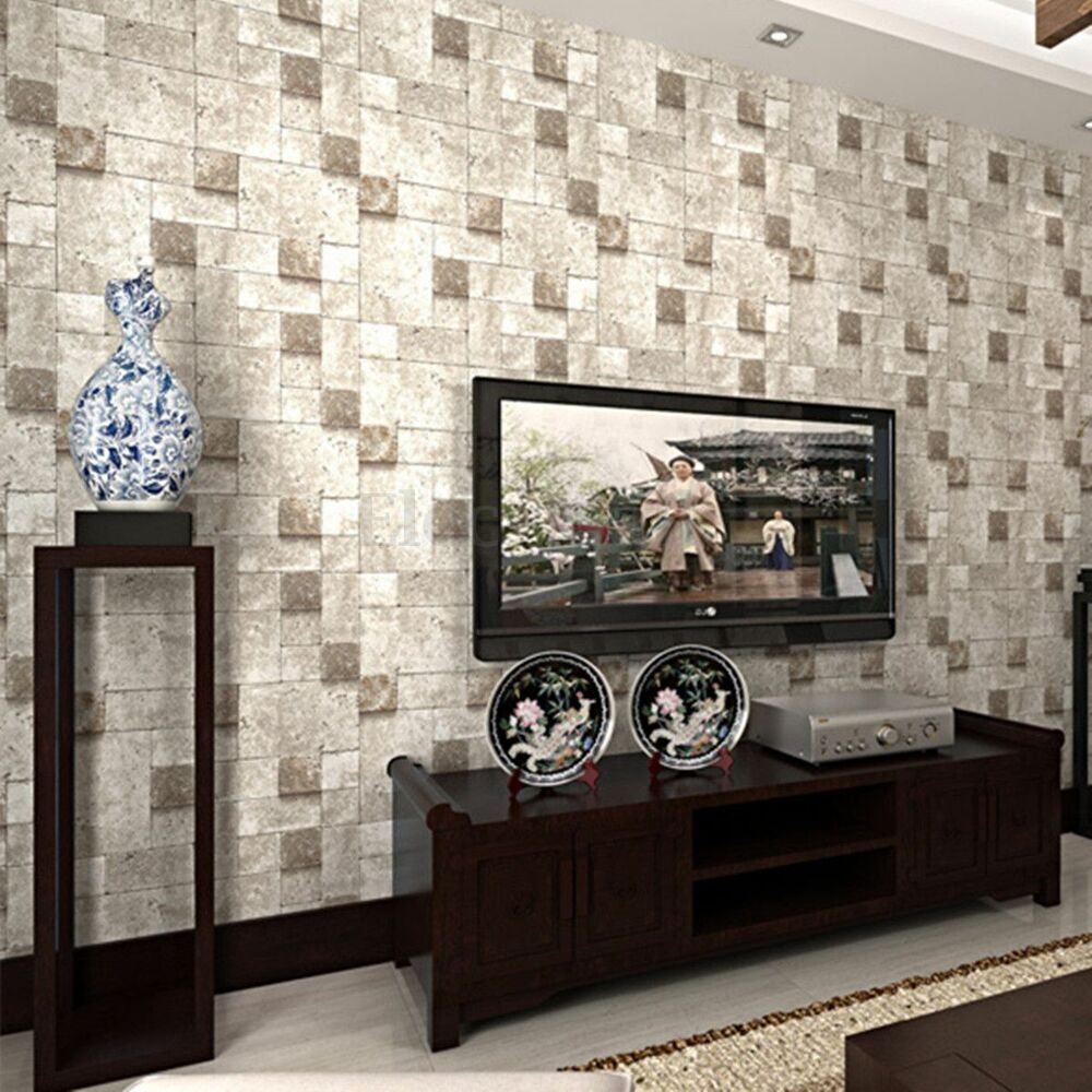 10m 3d brick effect wallpaper roll wallpaper home living for Home wallpaper ebay