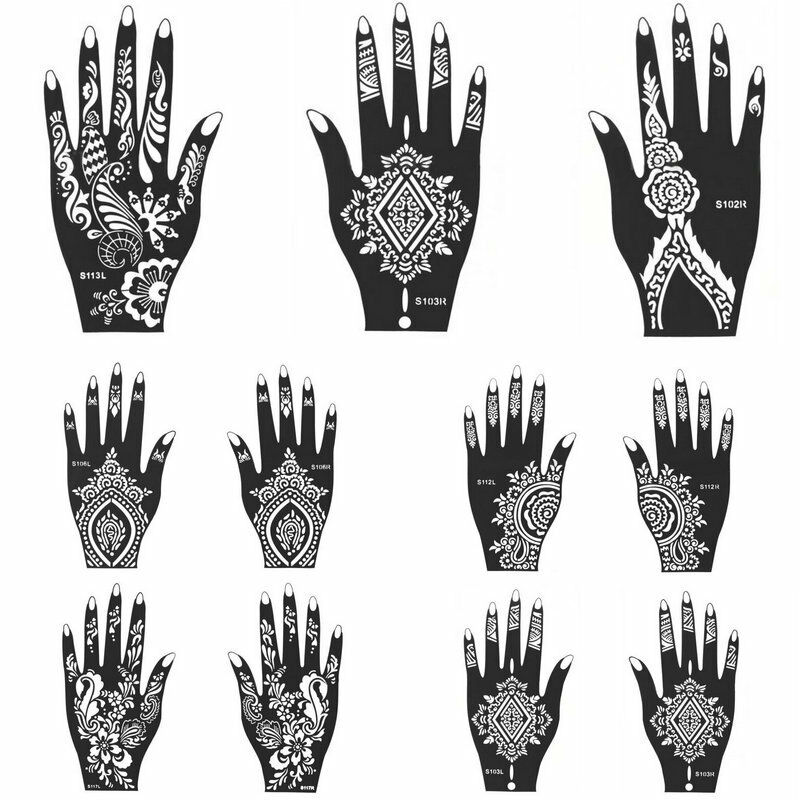 india henna temporary tattoo stencils tool for hand leg arm body art decal ebay. Black Bedroom Furniture Sets. Home Design Ideas