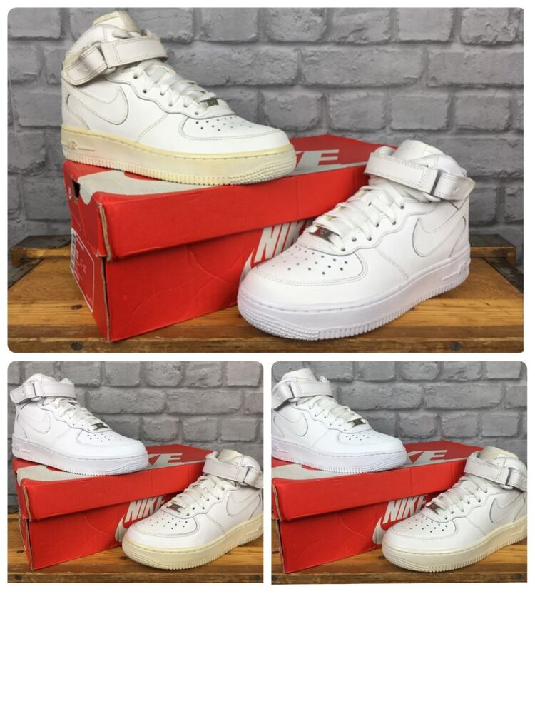 size 40 daa20 b782f NIKE AIR FORCE 1 MID 82 BASKETBALL WHITE LEATHER TRAINERS CHILDRENS BOYS  LADIES   eBay