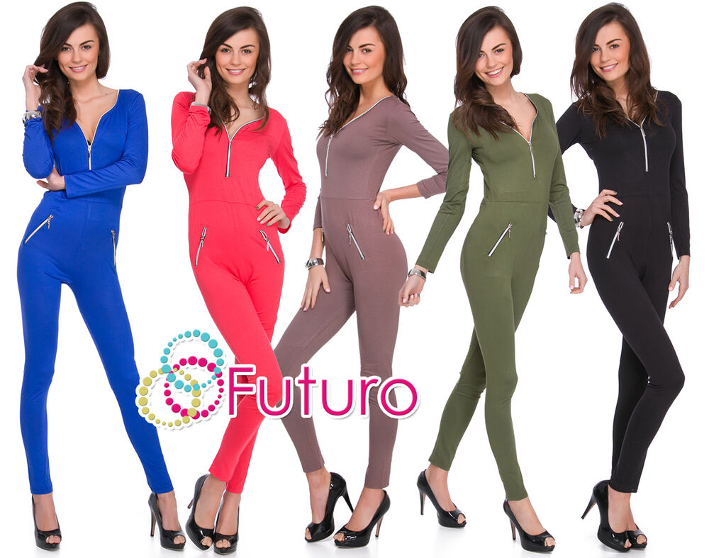 54096f7f16b0 Womens Jumpsuit Zip Neck Pockets Long Sleeve Playsuit Catsuit Sizes 8-14  1078