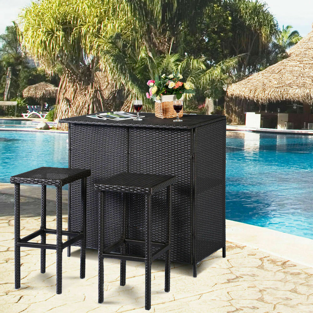 Goplus 3pcs Rattan Wicker Bar Set Patio Outdoor Table Amp 2