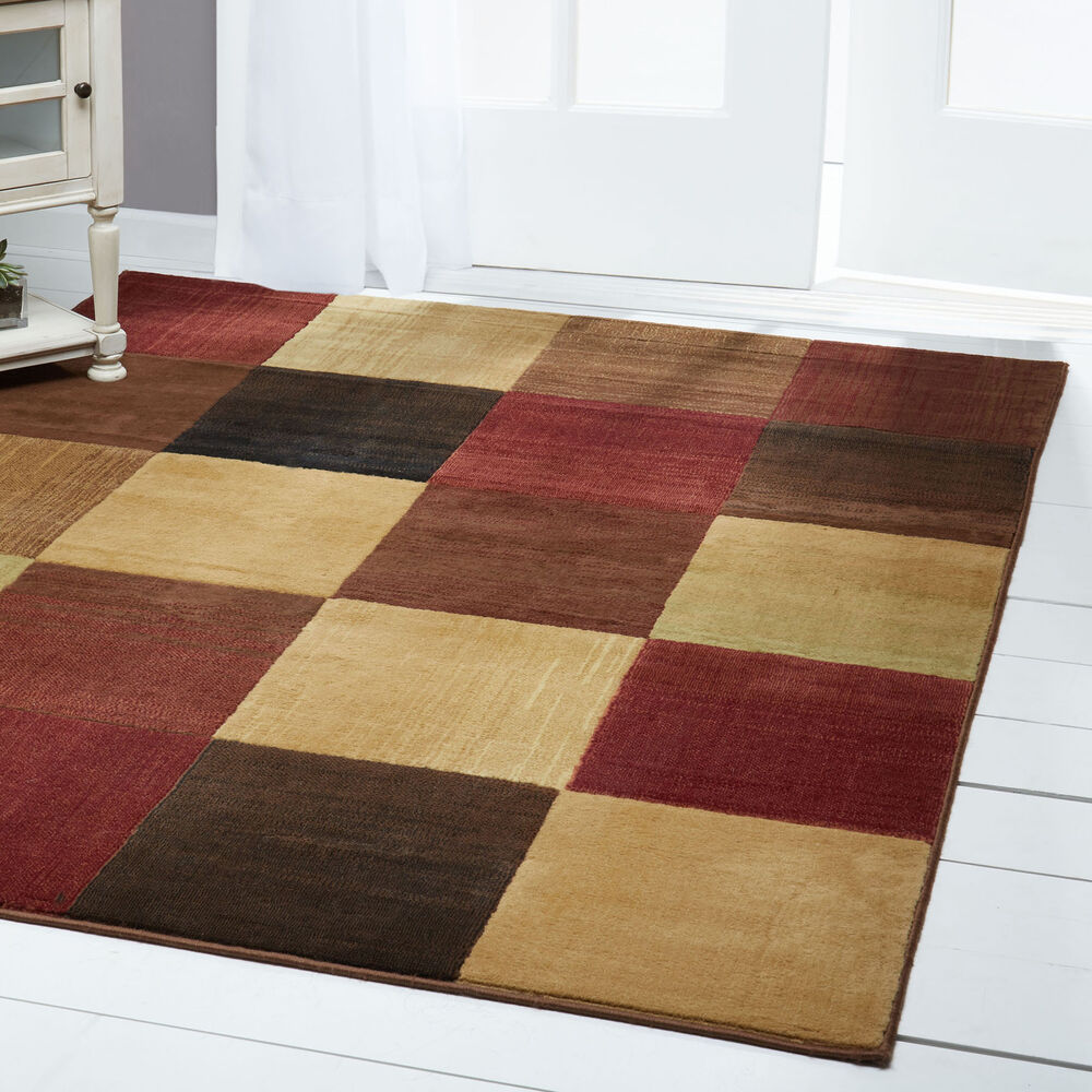 Modern Abstract Multi 6x8 Area Rug Squares Carpet