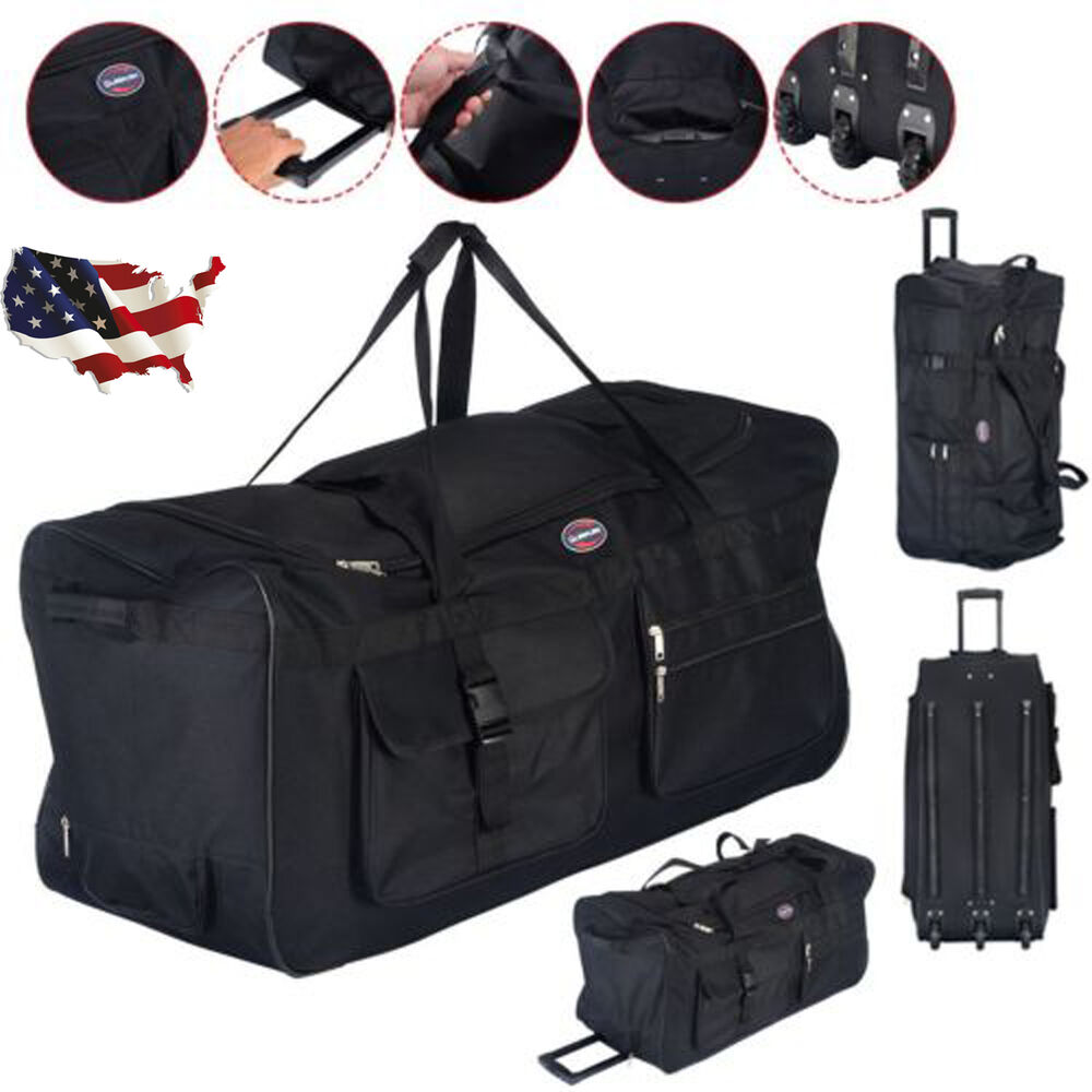 36 black rolling wheeled tote duffle bag carry on luggage travel suitcase new ebay. Black Bedroom Furniture Sets. Home Design Ideas