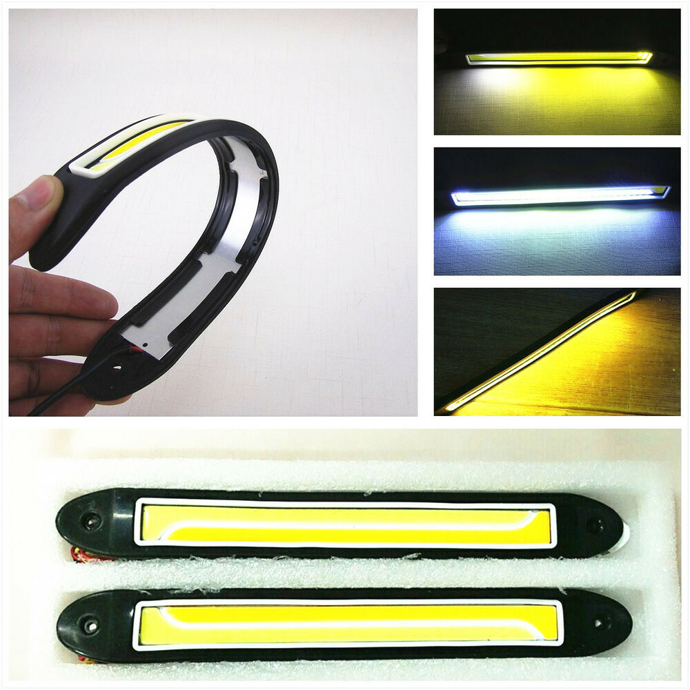 2 X Dual Color Cob Led Car Running Light Fog Lamp Strips