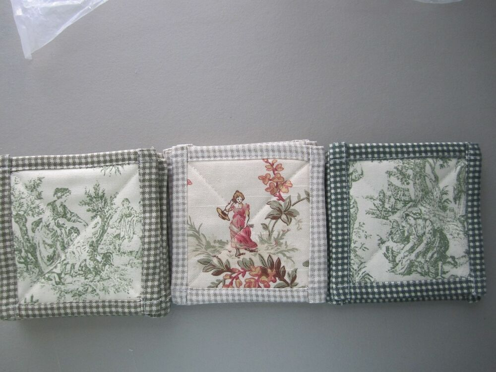 New Country French Toile Coasters Yellow Blue Red Black
