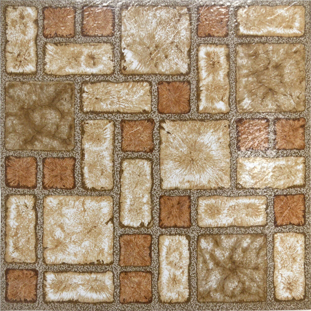 Stones Brown Vinyl Floor Tiles 40 Pcs Self Adhesive