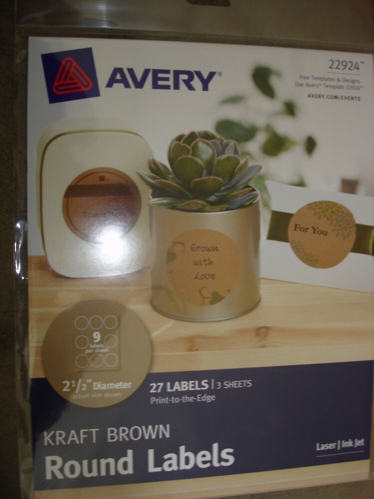 Avery Kraft Brown Round Labels 22924 Ebay