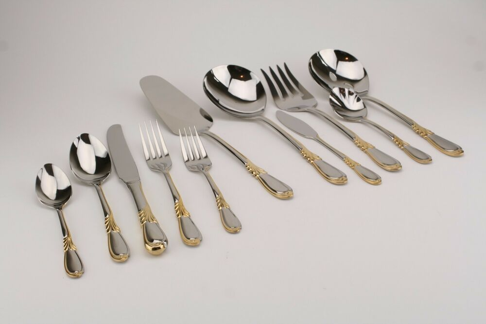 Retroneu Linda Gold Accent 18 8 Stainless Flatware Your