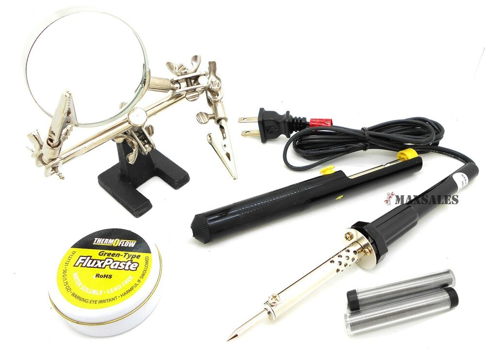 soldering tool kit 60w solder iron 2 wire helping hand. Black Bedroom Furniture Sets. Home Design Ideas