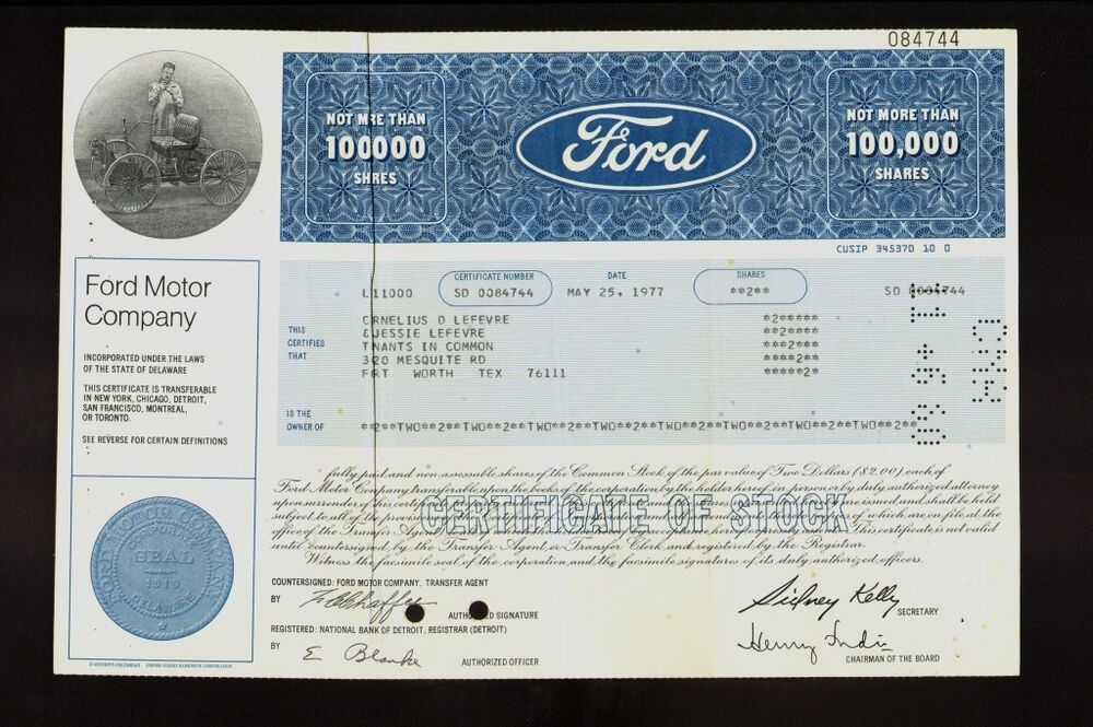 ford motor company dd 1977 old stock certificate iss to