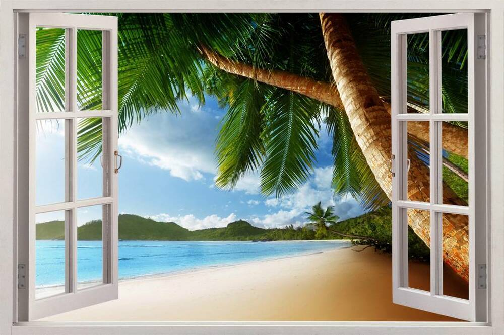 Exotic island 3d window view decal wall sticker home decor for Beach view wall mural