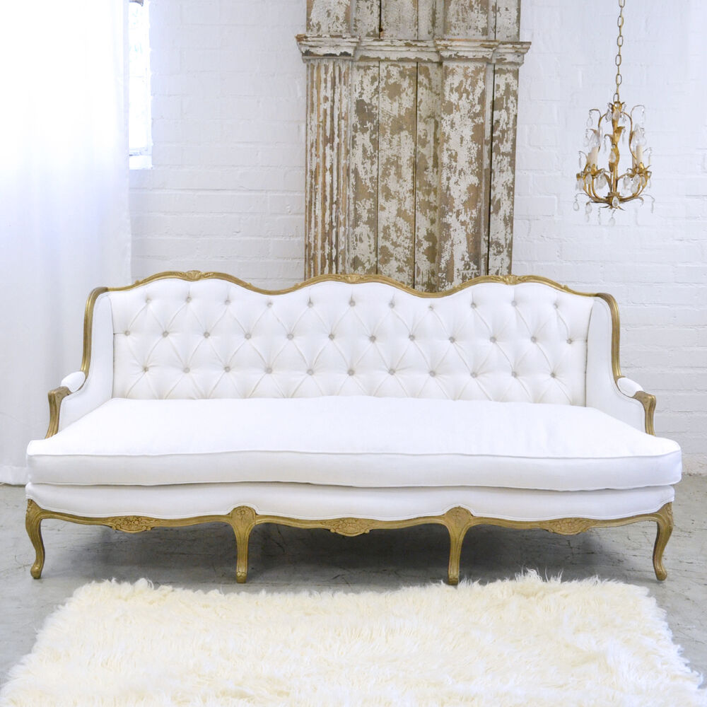 Shabby Cottage Chic Fancy White Linen Settee Couch Sofa French Vintage Style Ebay