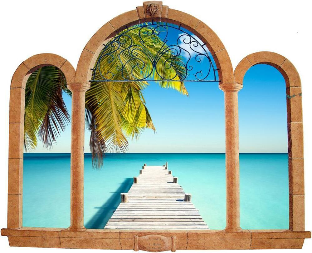 Palm Tree Beach 3d Ancient Window View Decal Wall Sticker
