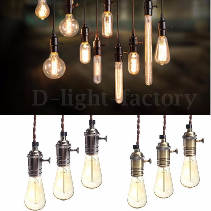 E27 Vintage Copper Pendant Hanging Light Holder Socket
