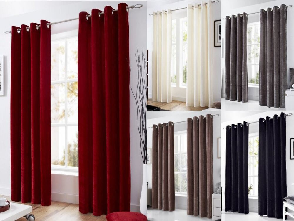 velvet eyelet lined curtains ready made ringtop curtain. Black Bedroom Furniture Sets. Home Design Ideas