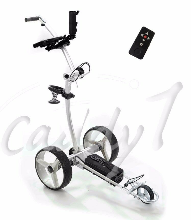 elektro golf trolley caddyone 750 mit lithium akku in silber ebay. Black Bedroom Furniture Sets. Home Design Ideas