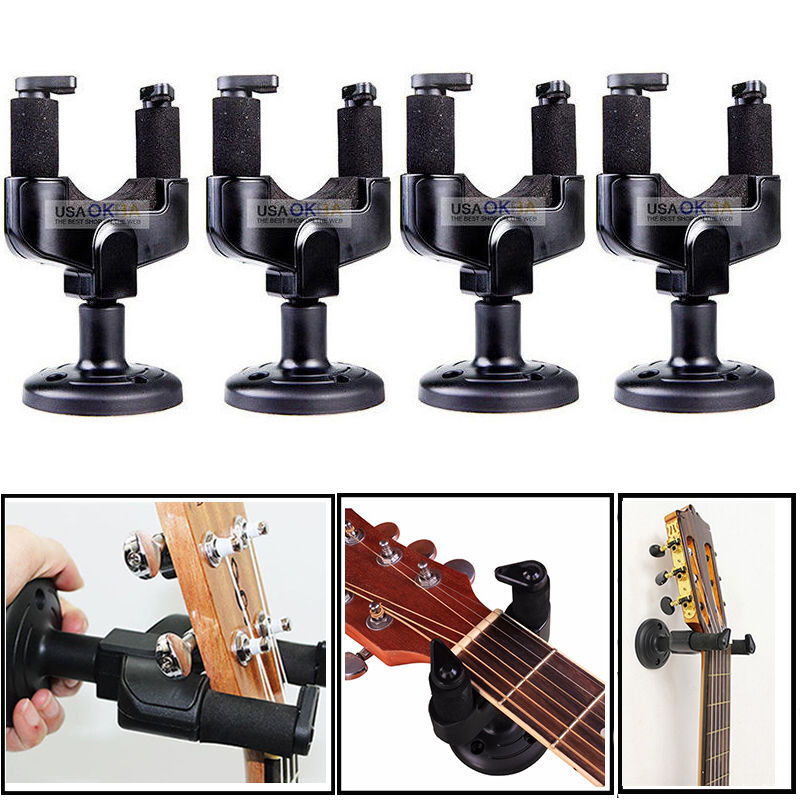 4x guitar wall mount hanger stand holder hooks display acoustic electric bass ebay. Black Bedroom Furniture Sets. Home Design Ideas