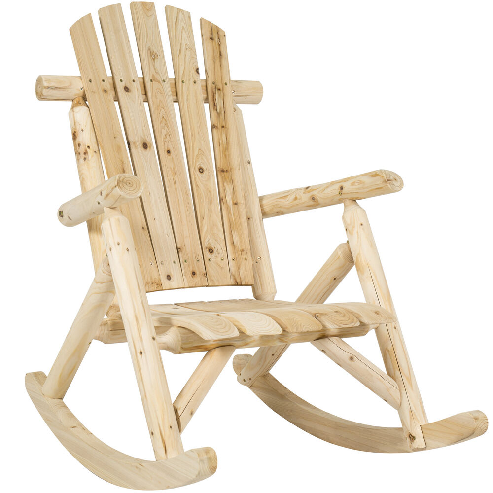 Best Choice Products Wood Log Rocking Chair Single Rocker