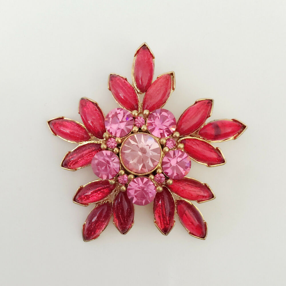 New Fushia Pink Flower Clear Wedding Party Gift Round Crystal Brooch