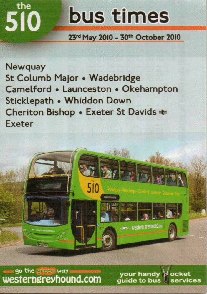 De S About Western Greyhound 510 Bus Timetable May Oct 2010 Cornwall Devon Map Leaflet Vgc