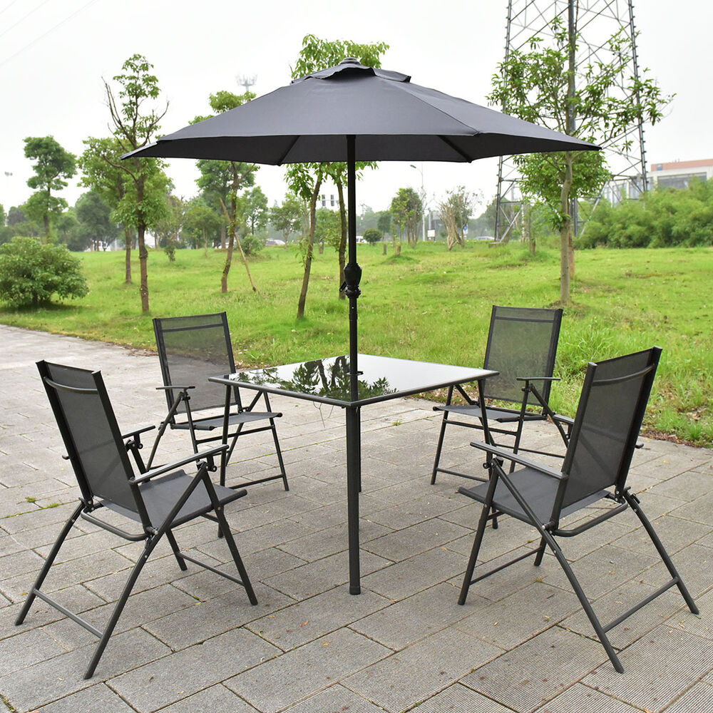 Patio Table Sets With Umbrella: 6PCS Patio Garden Set Furniture 4 Folding Chairs Table