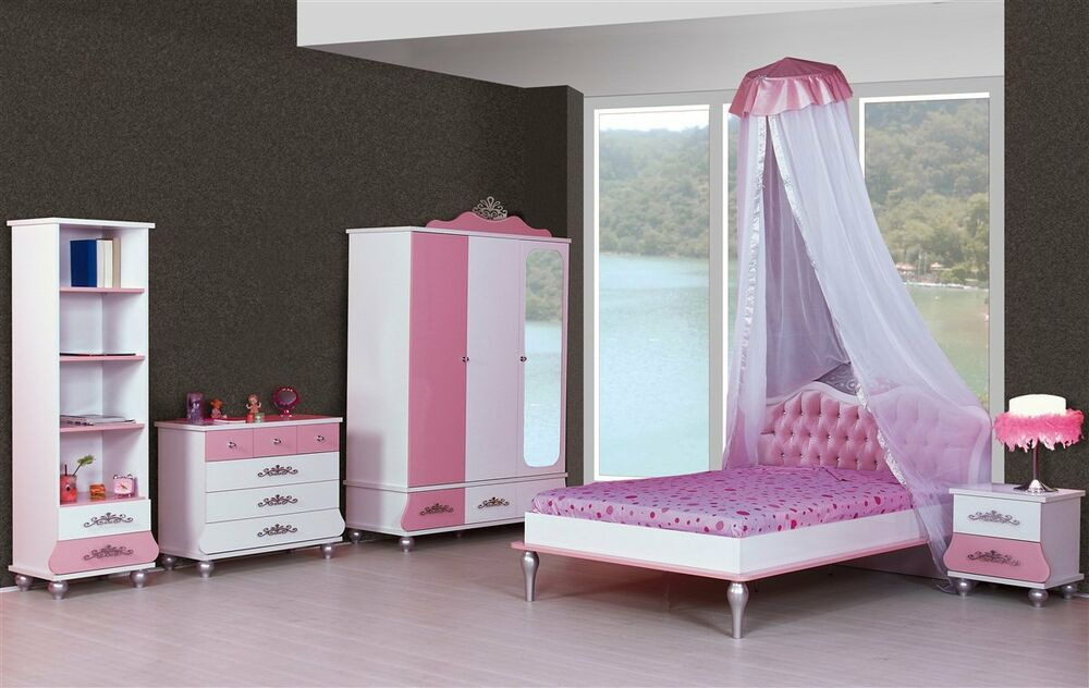 6er set kinderzimmer prinzessin kinder bett m dchen pink. Black Bedroom Furniture Sets. Home Design Ideas