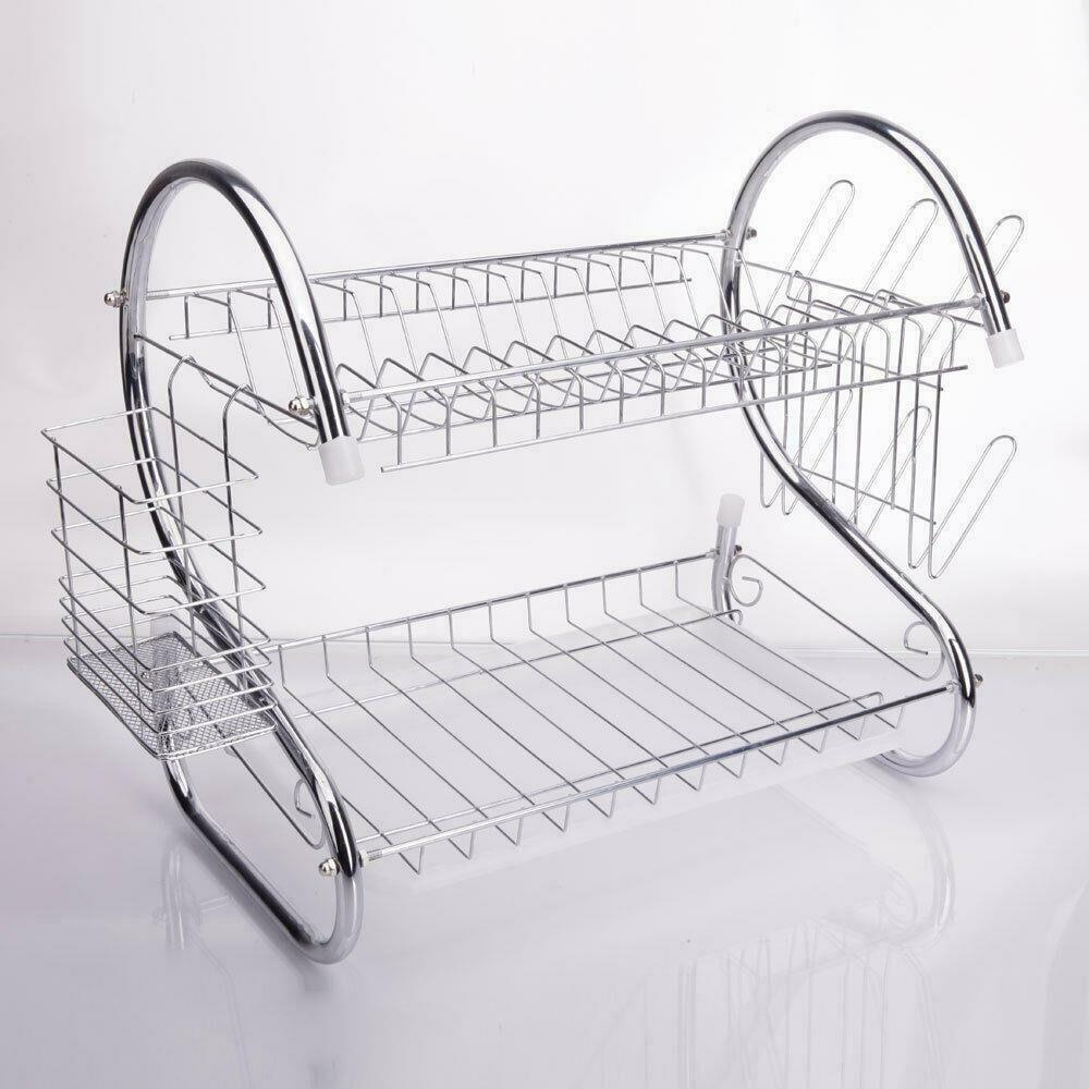 kitchen sink drainer trays 2 tiers kitchen dish cup drying rack drainer dryer tray 5764