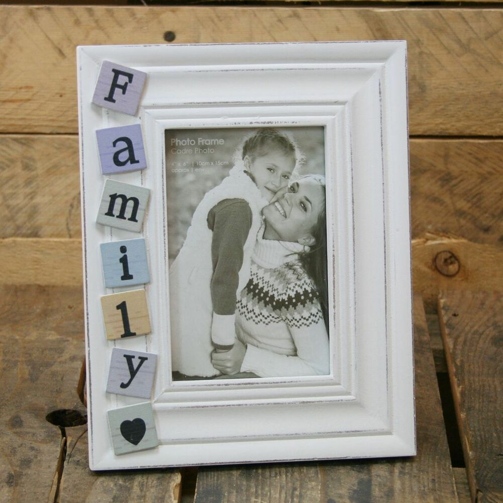 4 x 6 shabby chic white washed tiled family photo picture frame ebay. Black Bedroom Furniture Sets. Home Design Ideas