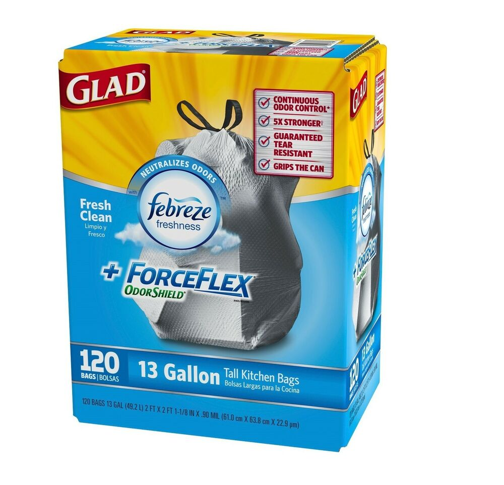 Kitchen Garbage Bags: Glad ForceFlex OdorShield Tall Kitchen Drawstring Trash
