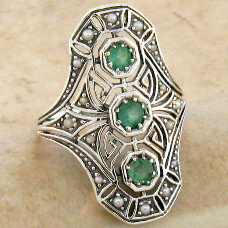 Genuine Emerald 925 Sterling Vintage Art Deco Style