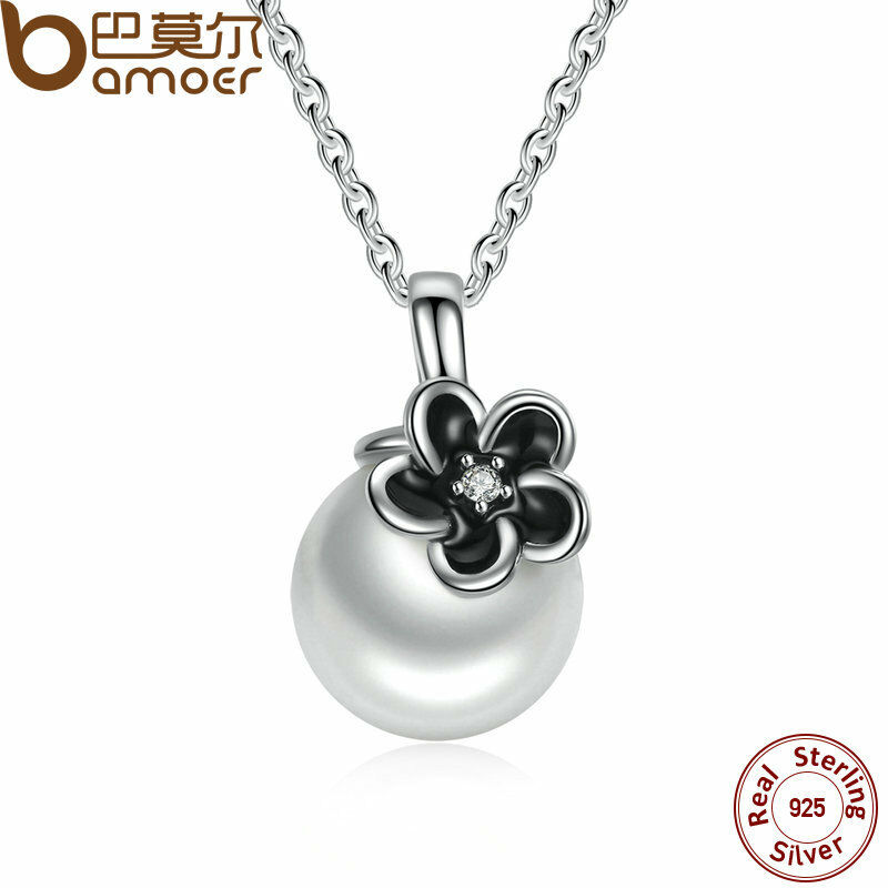 Bamoer Solid S925 Sterling Silver Necklace With Pearl ...