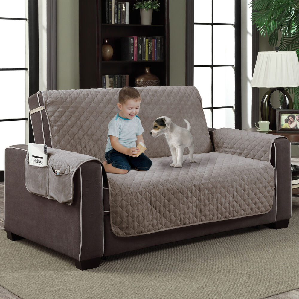 gray microfiber slipcover pet dog furniture reversible couch protector