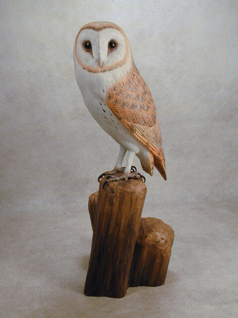 Barn owl original wood carving ebay