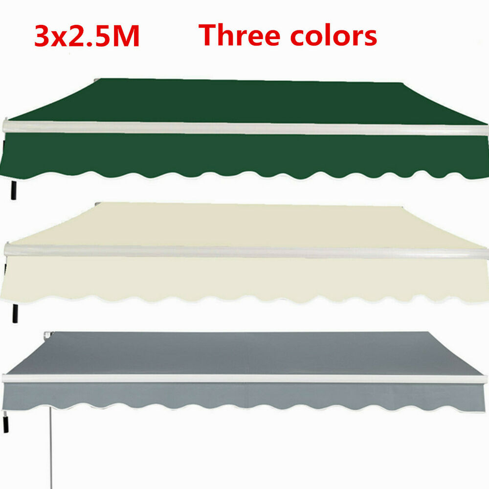 3x25m manual awning canopy garden patio shade shelter for Retractable patio awning canopy
