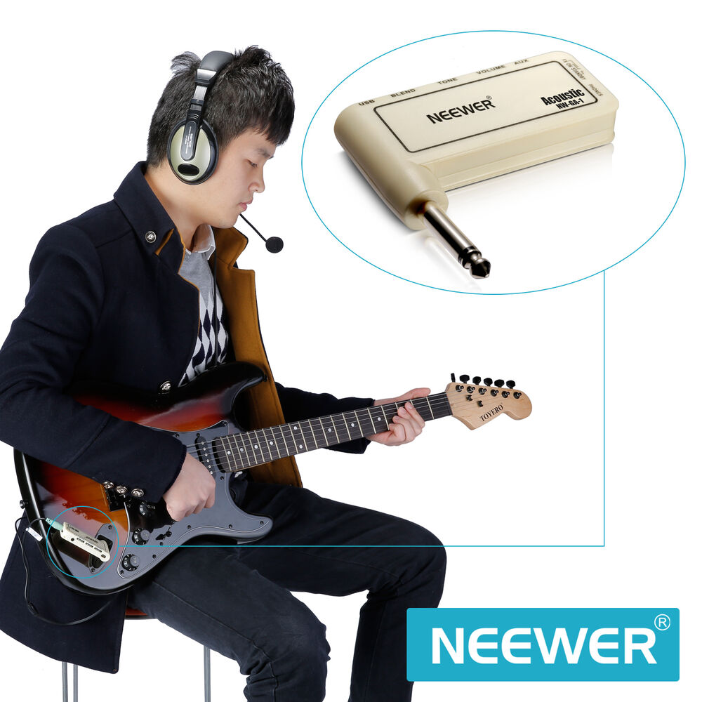 neewer portable electric guitar plug mini headphone amp amplifier acoustic ebay. Black Bedroom Furniture Sets. Home Design Ideas