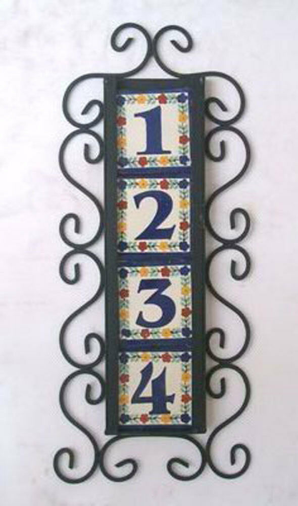 4 mexican tiles talavera house numbers vertical iron for House number frames