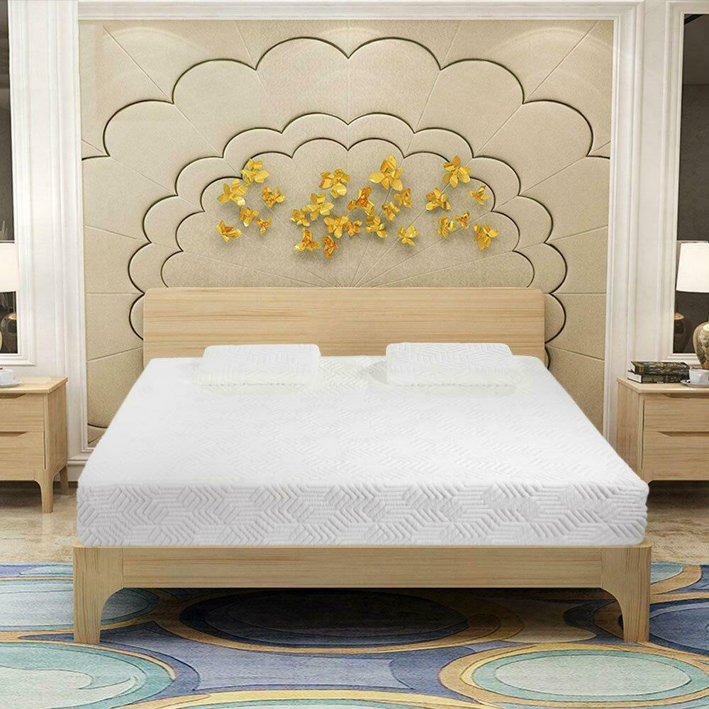 14 inch queen size cool medium firm memory foam mattress 2 free pillows white ebay. Black Bedroom Furniture Sets. Home Design Ideas