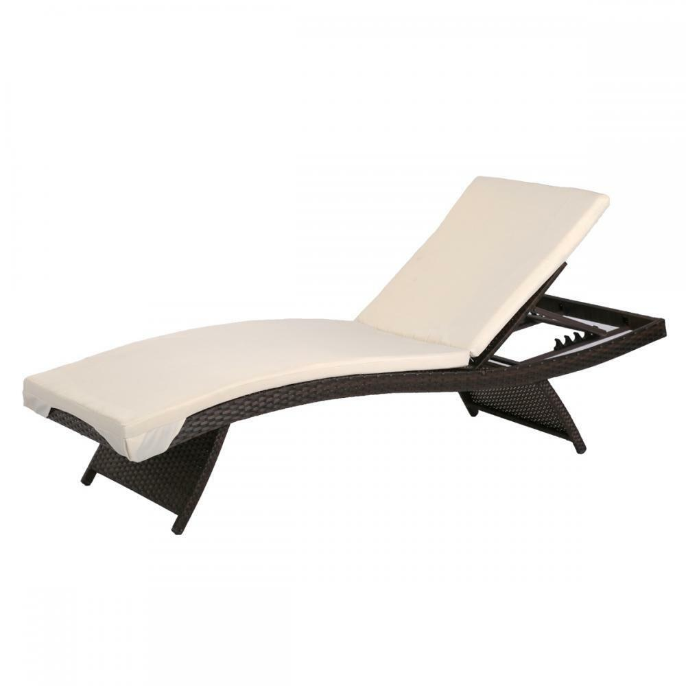 Adjustable Pool Chaise Lounge Chair Outdoor Patio Bed PE Wicker W Cushion MT2