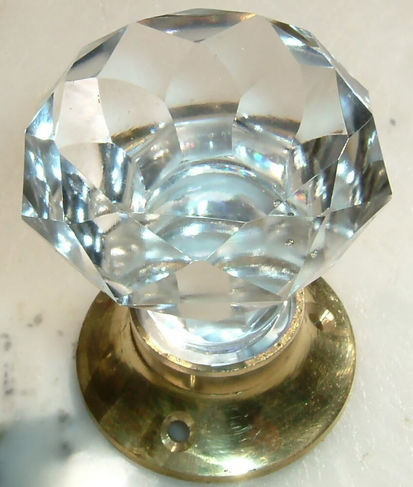 Clear Sparkling Crystal Cut Glass Door Knobs Pair Brass