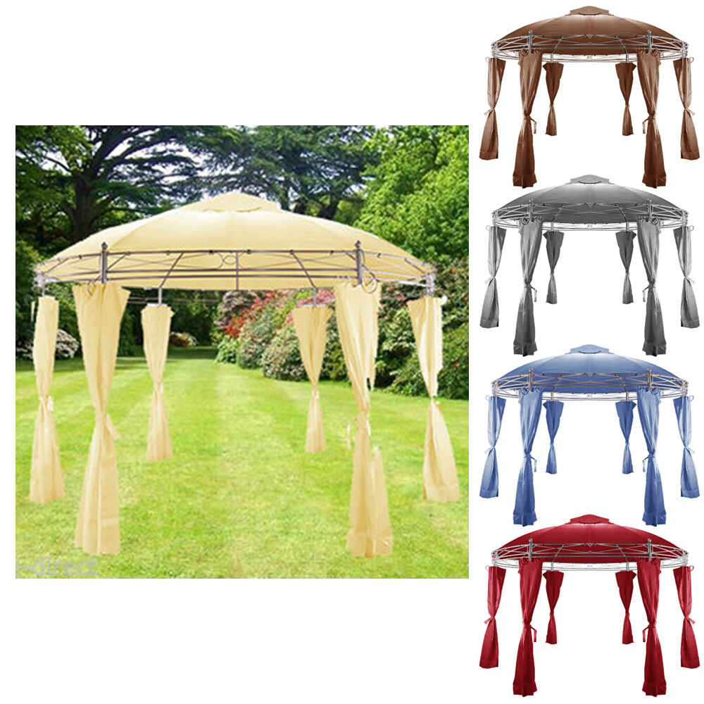 metal gazebo canopy awning marquee round party tent garden gazebo side panel ebay. Black Bedroom Furniture Sets. Home Design Ideas