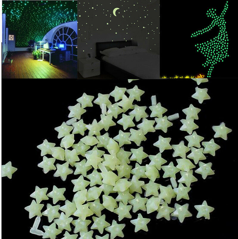 200pcs glow in the dark 3d stars moon stickers bedroom home wall room decor diy ebay. Black Bedroom Furniture Sets. Home Design Ideas