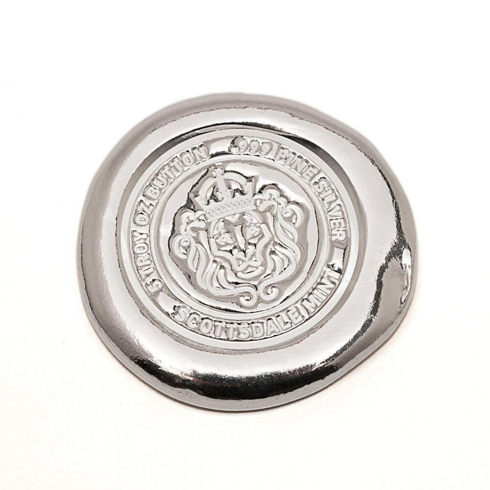 5 Oz Scottsdale Silver Button 999 Fine Silver Bullion