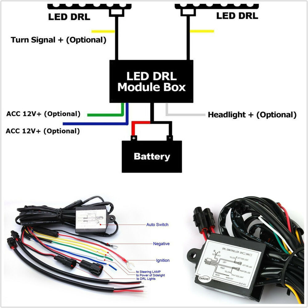 practical 12v car led daytime running lights relay drl controller module box kit ebay