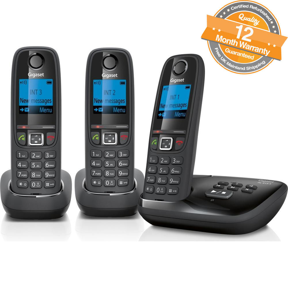 gigaset al415a trio digital cordless phone with answer. Black Bedroom Furniture Sets. Home Design Ideas